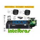 Kit Intelbras 2 Cam Multihd vhd1010B G4 + Dvr 4ch Mhdx 1004 MultiHD Intelbras + Hd 500g
