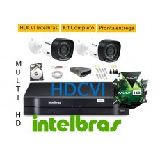 Kit Intelbras 2 Cam Hdcvi MultiHD VHD 1010B+ Dvr 4ch Hdvci MultiHD G3 Intelbras + Hd 500g
