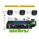 Kit Intelbras 3 Cam Multihd vhd 1010B G4+ Dvr 4ch Mhdx 1004 MultiHD + Hd 500giga