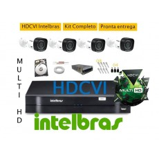 Kit Intelbras 4 Cam MultiHD Vhd1010b + Dvr 4ch Hdcvi 1004 Multihd Geração 3 C/ Hd 500gb