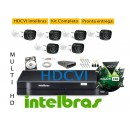 Kit Intelbras 6 Cam MultiHD VHD 1010b G4 + Dvr 8ch Mhdx 1008 MultiHD + HD 1 Tera