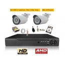 Kit 2 Cam AHD 30mts 720p + Dvr 4ch AHD Tribrido C/ 500gb
