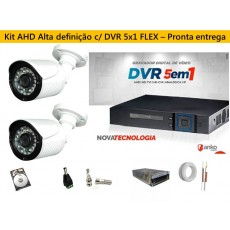 Kit 2 Cam AHD 30mts 720p + Dvr 4ch FLEX 5X1 1080N ANKO C/ 500gb
