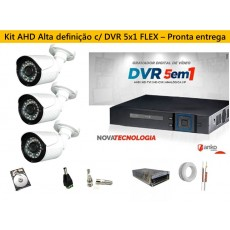 Kit 3 Cam AHD 30mts 720p + Dvr 4ch FLEX 5X1 1080N ANKO C/ 500gb