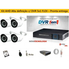 Kit 4 Cam AHD 30mts 720p + Dvr 4ch FLEX 5X1 1080N ANKO C/ 500gb
