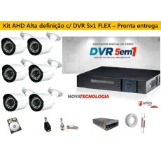 Kit 6 Cam AHD 30mts 720p + Dvr 8ch FLEX 1080N ANKO c/ HD 1 tera