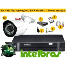 Kit 2 Cam AHD Bullet infra 30 mts + Dvr 4ch Hdcvi 1004 Multihd G3 Intelbras C/ Hd 500gb