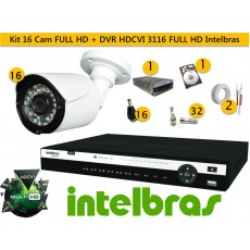 Kit 16 Cam FULL HD 30m 1080p + Dvr HDCVI 3116 FULL HD 1080P Intelbras c/ 2 tera