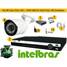 Kit 8 Cam FULL HD 30m 1080p + Dvr 16ch HDCVI 3116 FULL HD 1080P Intelbras c/ 2 tera