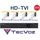 Kit 4 Camera Infra 30mt Hdtvi + Dvr 4ch Hdtvi Tecvoz Full Hd