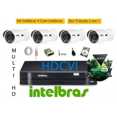 Kit Intelbras 4 Cam MultiHD vhd 3130b G4 + Dvr 4ch Mhdx 1004 MultiHD + HD 500g