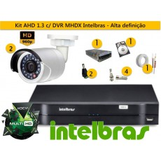 Kit 2 Cam AHD Bullet infra 30m 960p + Dvr 4ch Mhdx 1004 Multihd Intelbras + Hd 500gb
