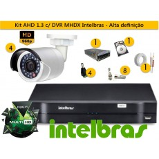 Kit 4 Cam AHD Bullet infra 30m 960p + Dvr 4ch Mhdx 1004 Multihd Intelbras + Hd 500gb