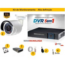 Kit 2 Cam AHD 30mts 960p + Dvr 4ch FLEX 5X1 1080N ANKO C/ 500gb