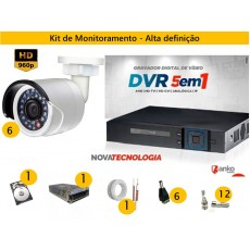 Kit 6 Cam AHD 30mts 960p + Dvr 8ch FLEX 1080N ANKO c/ HD 1 tera