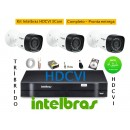 Kit Intelbras 3 Cam Hdcvi Dvr 4ch Hdvci Tribrido Hd 500giga
