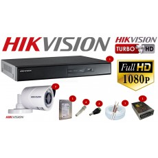 Kit Hikvision 2 Cameras Full Hd 1080p + Dvr 4ch Full Hikvsion Hd 500g