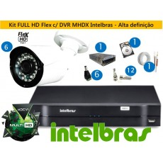 Kit 6 Cam Full HD 1080P + Dvr 8ch Multihd Intelbras c/ 1TB